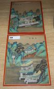 Chinese School, early 20th century, pair of gouache on silk, Pagodas and procession