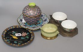 Four pieces of cloisonne, two metal cups and saucers and a censer