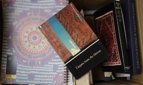 Nine books on glass, five C. Bronte books and thirty one books on carpets and rugs, etc.