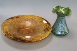 A Monart-style amber glass dish, diameter 35cm and a Loetz-style vase