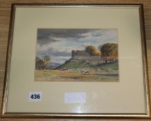 David West (1868-1936), watercolour, 'Duffus Castle' signed, 14 x 20cm.