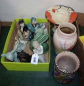 Three Art Deco vases and four mixed Sylvac and Denby animals etc (12)