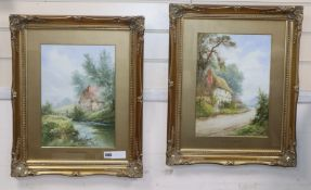H. Ramsey, pair of watercolours, Mill Cottage, Reigate and Bates Brook, Redhill, signed, 35 x 25cm