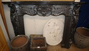 A painted wood and composition fire surround W.192.5cm