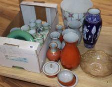 A collection of Royal Copenhagen ceramics, a Doulton vase, a teaset etc