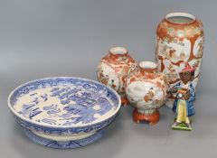 A pair of Kutani vases, another vase, a blue and white pedestal dish and a figure
