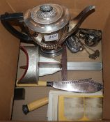 A silver plated coffee pot and small plated wares