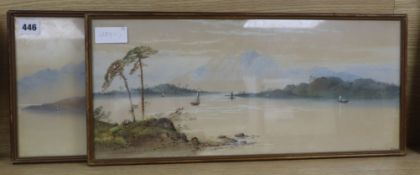 William Earp (1831-1914) pair of watercolours, Loch scenes, signed, 23 x 52cm