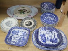 A quantity of 19th/20th century English and European plates/dishes including Davenport,