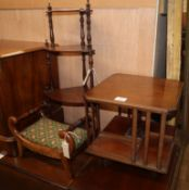 A table top revolving bookcase, W.36cm, a miniature footstool, W.37cm and a three tiered wall
