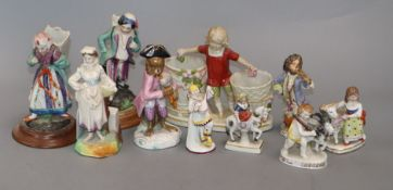A collection of ten Continental porcelain figures