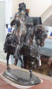 A bronze horseman, on marble base, dated 1848 height 89cm