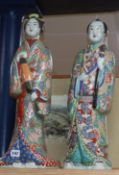 A pair of Japanese large porcelain figures height 59cm