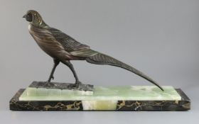 After Irénée Rochard (French 1906-1984). An Art Deco bronzed spelter model of a pheasant, on three