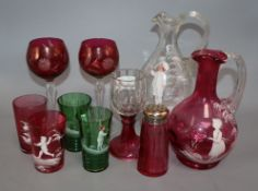 Four Mary Gregory glasses, two jugs and a sugar sifter