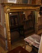 A 19th century giltwood and gesso overmantel mirror W.165cm (restored)