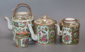 Three Cantonese teapots and a lidded pot