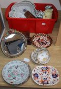 A Chinese famille rose plate, mixed European ceramics, a Barbola mirror etc