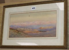 Philipa Anna Frederica Stephenson (fl.1896-1937) watercolour, Sunset on Moab, signed, 17 x 34cm