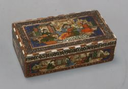 A Persian painted and inlaid wood box length 17cm