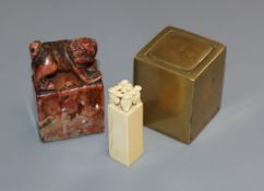 A Chinese bronze seal, a soapstone seal and ivory seal