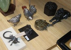 A bronze lizard, three lions, a hexagonal box, Neptune, two Meiji plated chickens and old brass