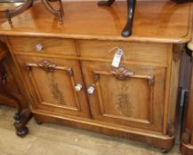 A Victorian mahogany low cupboard and a chest of drawers W.110cm