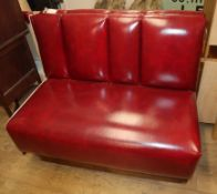 An American diner red leatherette double seat, W.108cm and a matching single seat