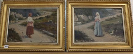 S. Toro, pair of oils on canvas, Peasant women on hillside paths, signed, 26 x 38cm