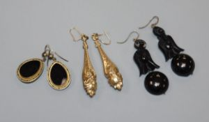 A pair of jet drop earrings and two other pairs of Victorian earrings including yellow metal,