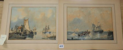Hermanus G. Groenewegen (1825-1879) pair of watercolours, Seascapes, one signed, dated 1847, 23 x