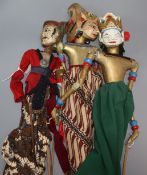 Three traditional Indonesian hand puppets