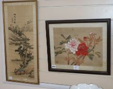 Chinese School, watercolour on silk, Study of peonies, 28 x 36cm and a watercolour landscape