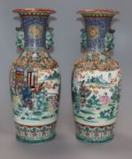 A pair of Japanese vases, in Kutani style, height 37cm