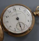 A 19th century engine turned gold plated Waltham hunter keyless pocket watch.