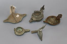 Five Javanese antique oil lamps, probably Majapahit Empire