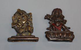 Two Sino-Tibetan bronze figures of deities, 19th century