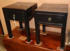 A pair of Chinese lacquer side tables W.38.5cm