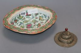 A Chinese famille rose bowl and a metal rice bowl lid
