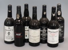 Seven bottles of Vintage port