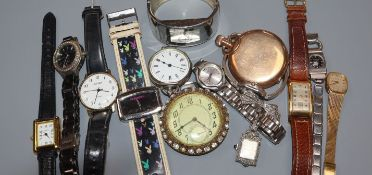 A small group of assorted wrist and pocket watches.