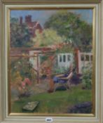 Gladys Carew Blake, oil on board, In Old Palace Yard, signed, label verso, 50 x 40cm