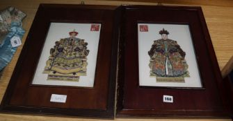 A pair of Chinese porcelain panels of Emperors 30 x 22cm excl. frames