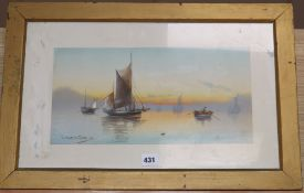J. Maurice Hosking, watercolour, A Golden Eve, signed, 20 x 40cm