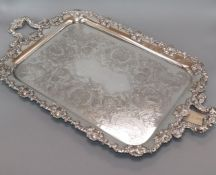 A silver plated two handled tray overall length 65cm