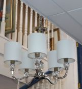 A Laura Ashley glass and chrome five branch ceiling light