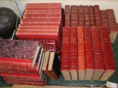 A collection of French and other red leather books