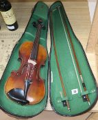 A Violin with label 'Antoins Stradivarius Cremona fecit Anno 1600' in Boosey and Hankey case with