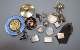 A small collection of silver and white metal items including enamel desk clock, tortoiseshell