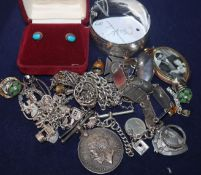 Mixed silver/white metal and costume jewellery including silver hinged bangle.